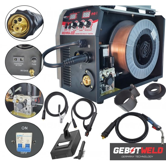 Invertora metināšanas pusautomāts  2 in 1 MIG+MMA 300A, 230V IGBT (GET004)